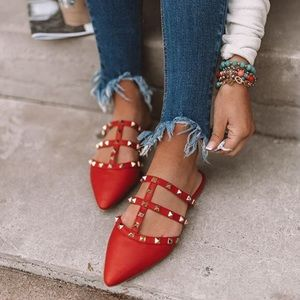 Shoes - Red mules studded flats Vegan leather red